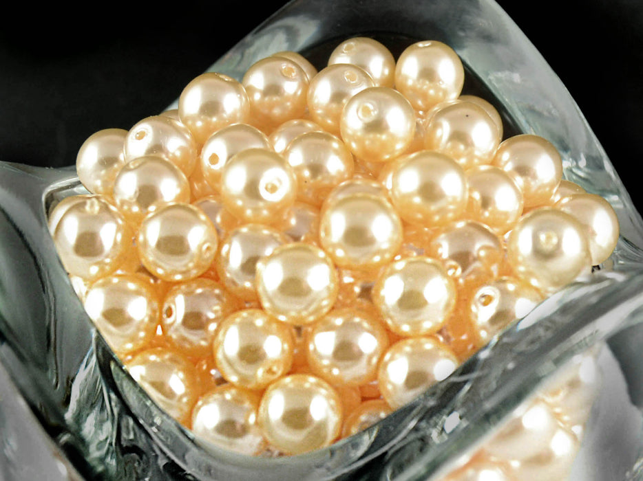 50 pcs Round Pearl Beads, 6mm, Beige Pearl, Czech Glass