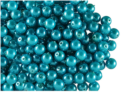 50 pcs Round Pearl Beads, 6mm, Pastel Turquoise, Czech Glass
