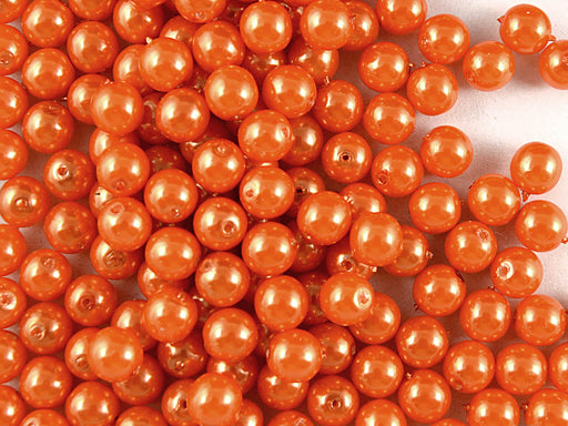50 pcs Round Pearl Beads, 6mm, Pastel Orange, Czech Glass
