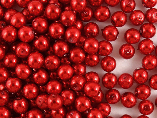 50 pcs Round Pearl Beads, 6mm, Pastel Red, Czech Glass