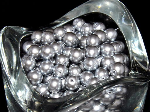 50 pcs Round Pearl Beads, 6mm, Gray Pearl, Czech Glass