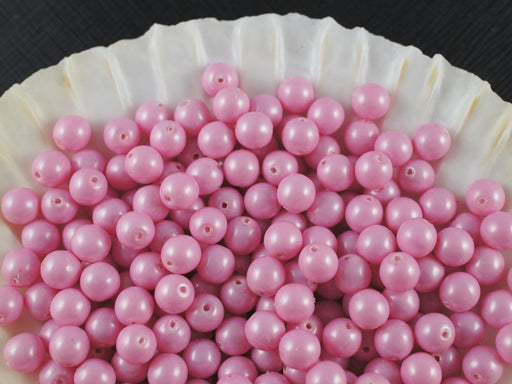50 pcs Round Pearl Beads, 6mm, Baby Pink Pastel, Czech Glass