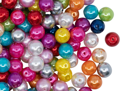 50 pcs Round Pearl Beads, 6mm, Mix Pearl Colors, Czech Glass