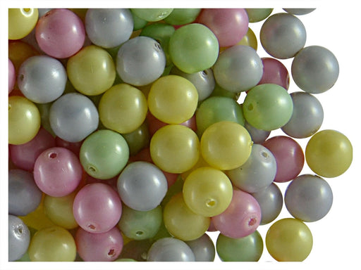 50 pcs Round Pearl Beads, 6mm, Baby Mix Pastel, Czech Glass