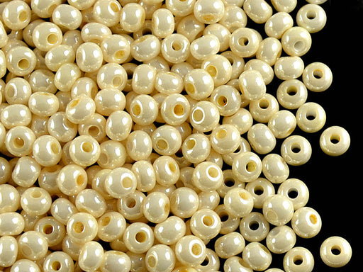 20 g 6/0 Seed Beads Preciosa Ornela, Cream Shell Opaque Luster, Czech Glass