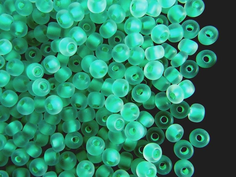 20 g 20 g Rocailles 6/0 Crystal Matte Green Lined Czech Glass Green