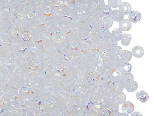 Rocailles Seed Beads 6/0, Crystal AB, Czech Glass