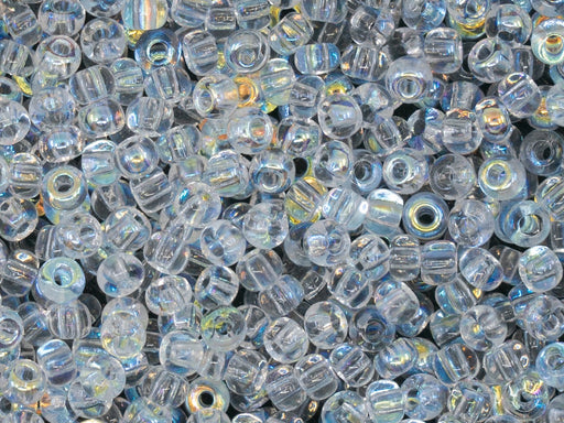 20 g Rocailles Seed Beads 6/0, Crystal AB, Czech Glass