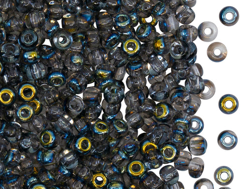 Rocailles Seed Beads 6/0, Crystal AB Black, Czech Glass