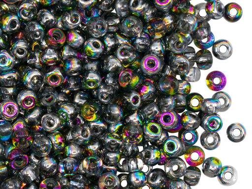 Rocailles Seed Beads 6/0, Crystal Vitrail, Czech Glass