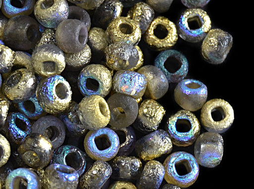 10 g 6/0 Etched Seed Beads, Etched Golden Rainbow, Czech Glass