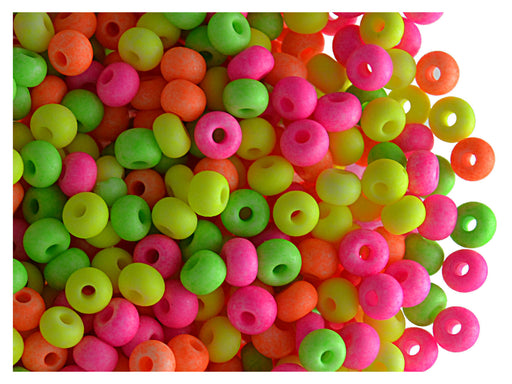 20 g 6/0 Seed Beads Preciosa Ornela, NEON Mix Opaque, Czech Glass