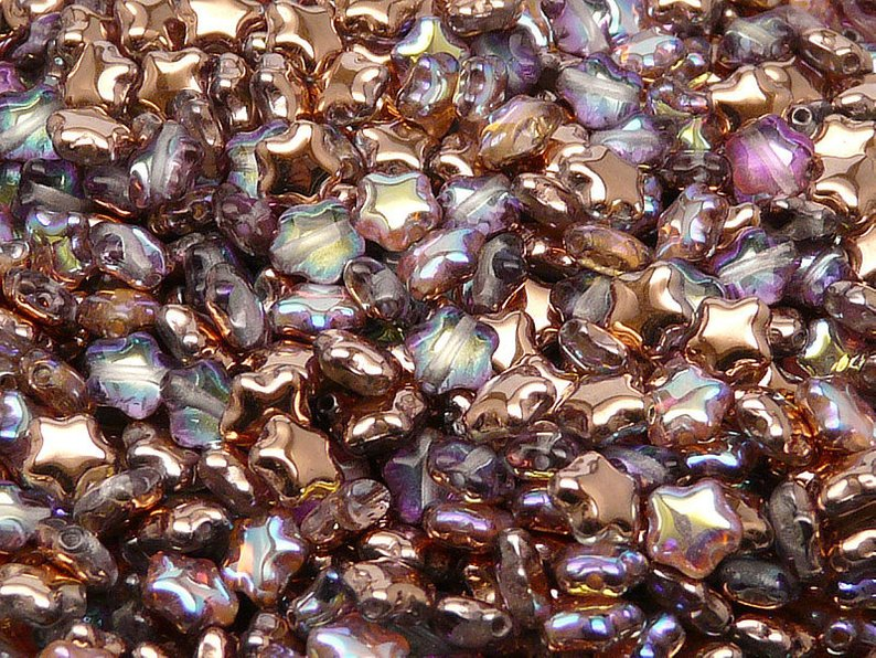 50 pcs Star Beads, 6 mm, Czech Glass, Crystal Copper Rainbow