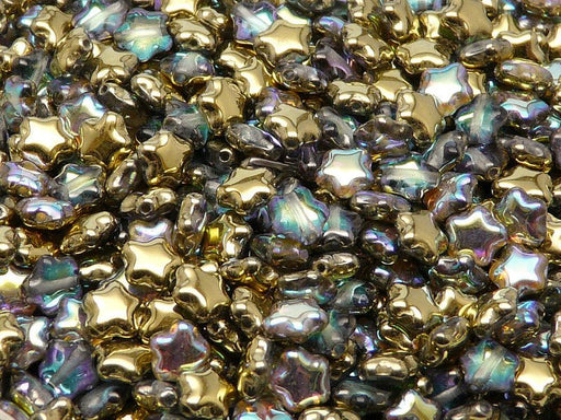 50 pcs Star Beads, 6 mm, Czech Glass, Crystal Golden Rainbow