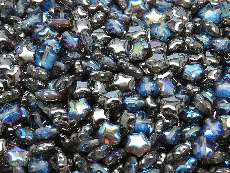 50 pcs Star Beads, 6 mm, Czech Glass, Crystal Graphite Rainbow