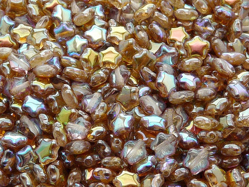 50 pcs 50 pcs Star Beads 6 mm Crystal Brown Rainbow Czech Glass Brown Multicolored