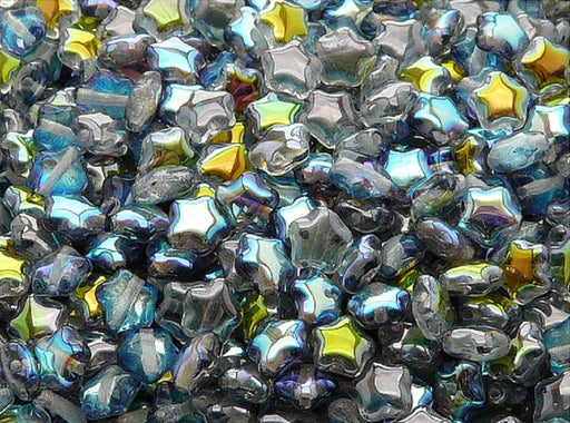 50 pcs 50 pcs Star Beads 6 mm Crystal Blue Rainbow Czech Glass Blue Multicolored