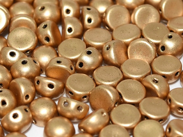 25 pcs 2-hole Cabochon Pressed Beads, 6mm, Aztec Gold (Crystal Bronze Pale Gold), Czech Glass