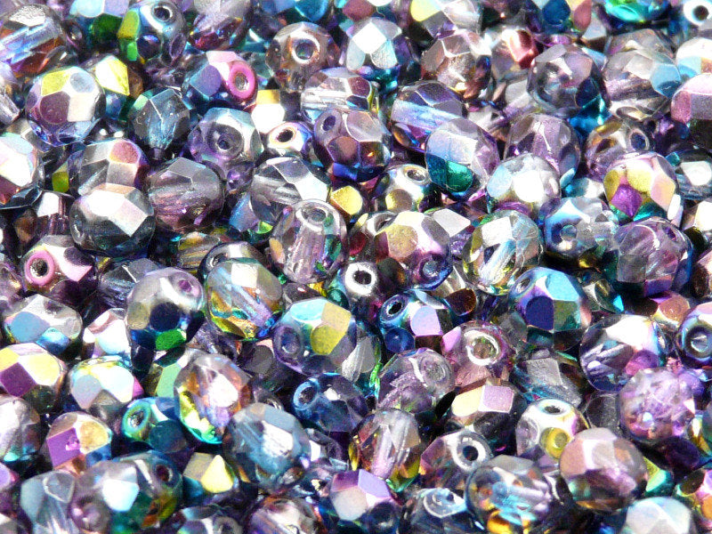 50 pcs Fire Polished Faceted Beads Round, 6mm, Magic Blue Pink, Czech Glass