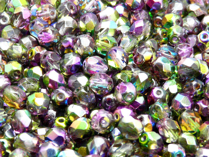 50 pcs Fire Polished Faceted Beads Round, 6mm, Magic Violet Green, Czech Glass