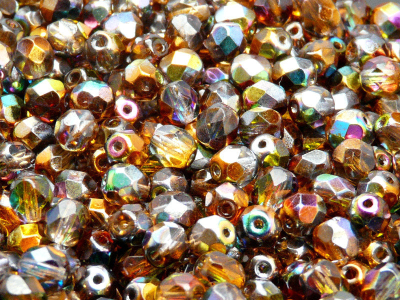 50 pcs Fire Polished Faceted Beads Round, 6mm, Magic Orange Gray, Czech Glass