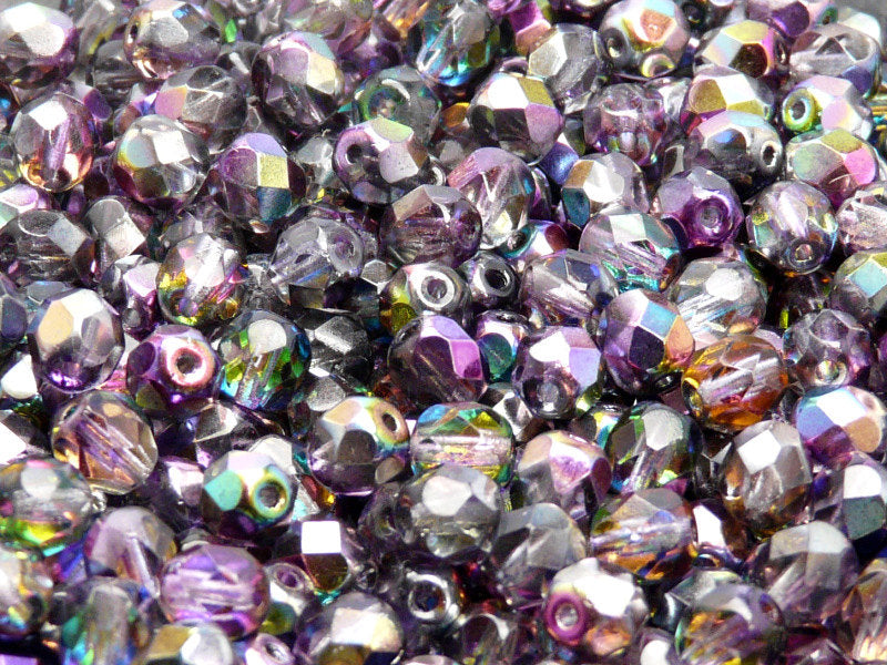 Fire Polished Faceted Beads Round, 6mm, Magic Violet Gray, Czech Glass
