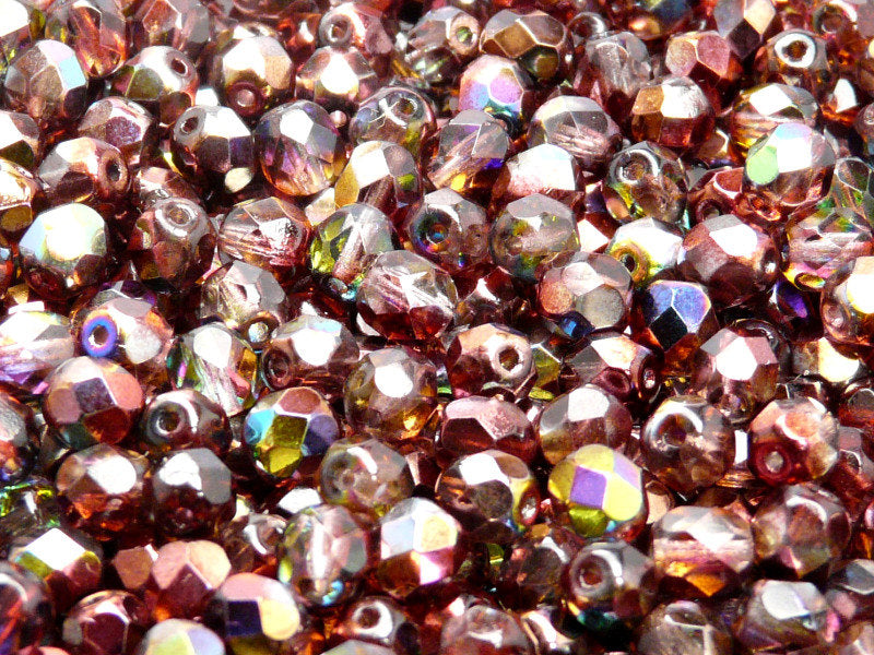 50 pcs Fire Polished Faceted Beads Round, 6mm, Magic Red Brown, Czech Glass