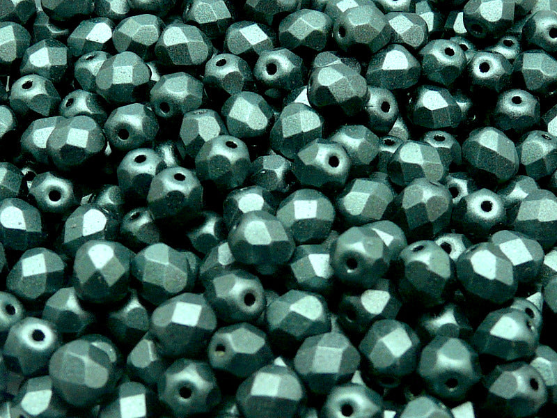 50 pcs Fire Polished Faceted Beads Round, 6mm, Dark Green Matte, Czech Glass