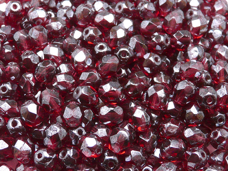 50 pcs Fire Polished Faceted Beads Round, 6mm, Fuchsia Shimmer, Czech Glass