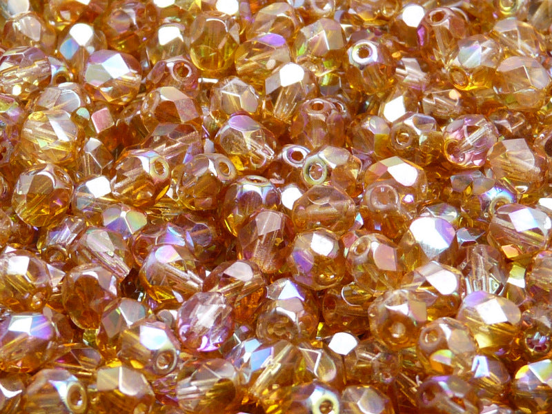 50 pcs Fire Polished Faceted Beads Round, 6mm, Crystal Orange Rainbow, Czech Glass
