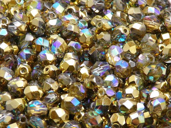 50 pcs Fire Polished Faceted Beads Round, 6mm, Crystal Golden Rainbow, Czech Glass