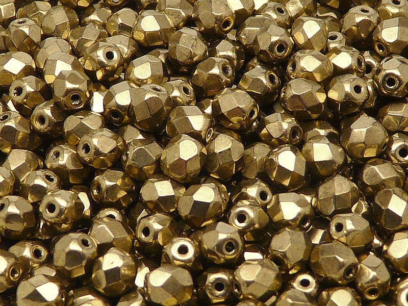50 pcs Fire Polished Faceted Beads Round, 6mm, Jet Gold Bronze, Czech Glass