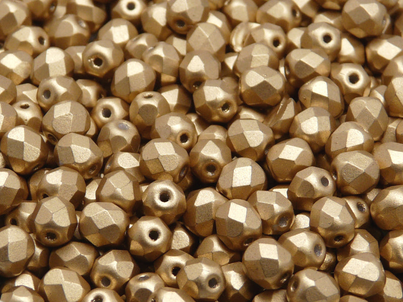 50 pcs Fire Polished Faceted Beads Round, 6mm, Pale Gold Matte (Aztec Gold), Czech Glass