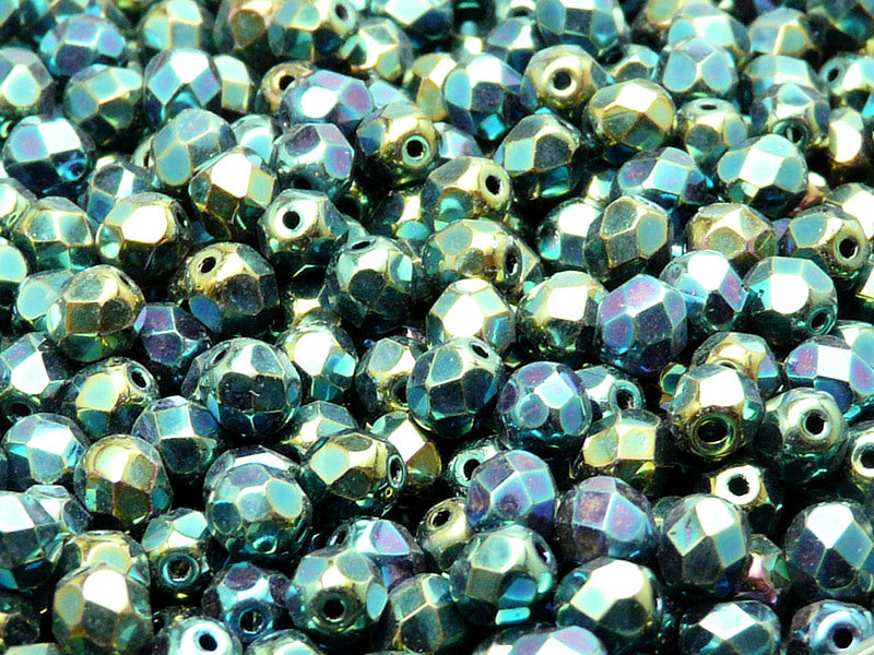 50 pcs Fire Polished Faceted Beads Round, 6mm, Jet Green Iris, Czech Glass