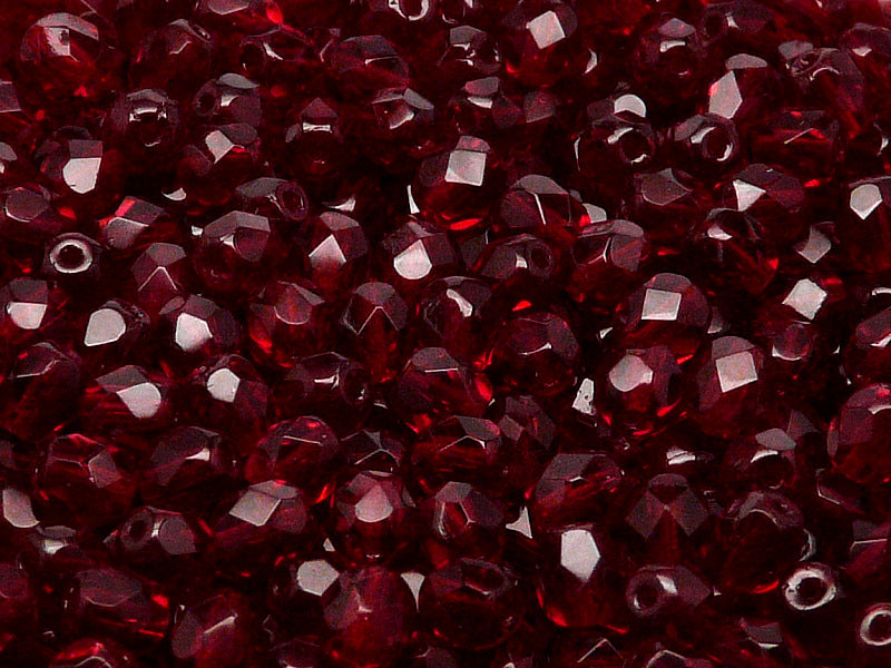 100pcs Czech Fire-Polished Faceted Glass Beads Round 3mm Ruby