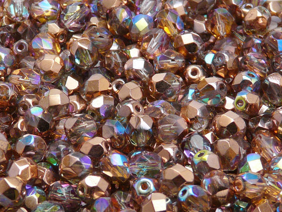 50 pcs Fire Polished Faceted Beads Round, 6mm, Crystal Copper Rainbow, Czech Glass