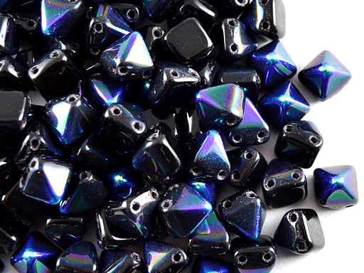 25 pcs Small Pyramid 2-hole Beads, 6x6mm, Jet AB, Pressed Czech Glass