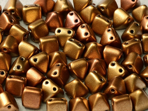 25 pcs Small Pyramid 2-hole Beads, 6x6mm, Metallic Mix, Pressed Czech Glass