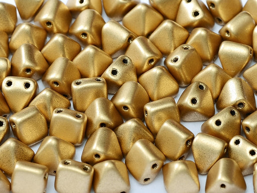 25 pcs Small Pyramid 2-hole Beads, 6x6mm, Aztec Gold, Pressed Czech Glass