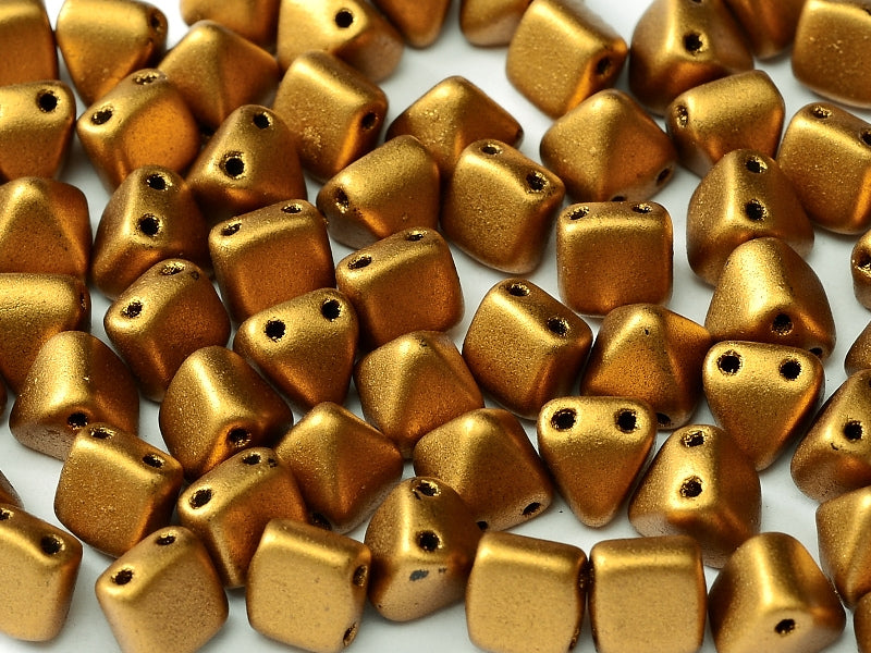 25 pcs Small Pyramid 2-hole Beads, 6x6mm, Brass Gold, Pressed Czech Glass