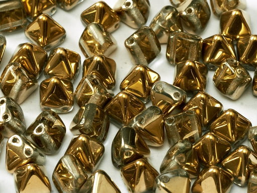 25 pcs Small Pyramid 2-hole Beads, 6x6mm, Crystal Amber, Pressed Czech Glass