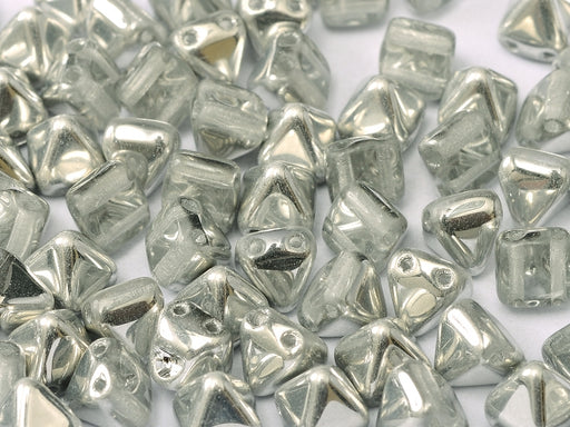 25 pcs Small Pyramid 2-hole Beads, 6x6mm, Crystal Labrador, Pressed Czech Glass