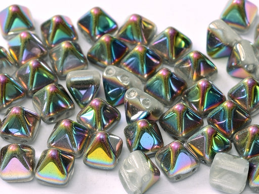 25 pcs Small Pyramid 2-hole Beads, 6x6mm, Crystal Vitrail, Pressed Czech Glass