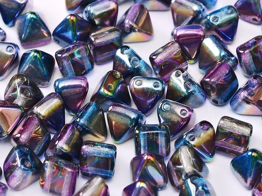 25 pcs Small Pyramid 2-hole Beads, 6x6mm, Crystal Magic Blue, Pressed Czech Glass