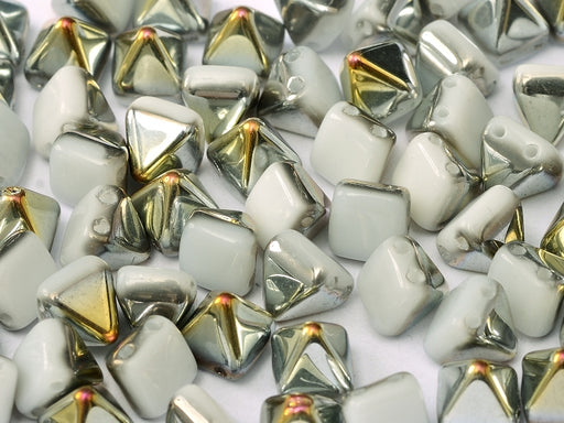 25 pcs Small Pyramid 2-hole Beads, 6x6mm, Alabaster Marea, Pressed Czech Glass