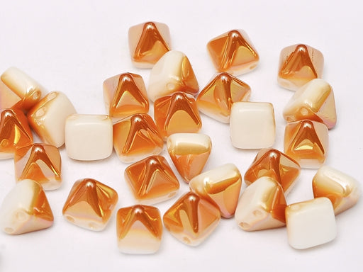 25 pcs Small Pyramid 2-hole Beads, 6x6mm, Alabaster Apricot Medium, Pressed Czech Glass