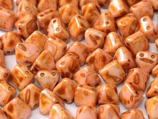 25 pcs Small Pyramid 2-hole Beads, 6x6mm, Alabaster Travertine Red/Brown, Pressed Czech Glass
