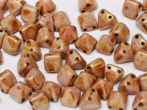 25 pcs Small Pyramid 2-hole Beads, 6x6mm, Alabaster Roman Rose, Pressed Czech Glass