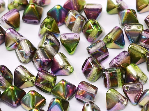 25 pcs Pyramid Beads with Two Holes, 6x6mm, Czech Glass, Crystal Magic Orchid