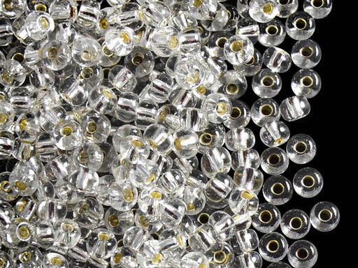 20 g 6/0 Seed Beads Preciosa Ornela, Crystal Clear Silver Lined, Czech Glass